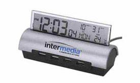 Digital alarm clock with four port USB hub