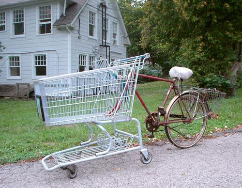 Kroger Shopping cart & Old Schwinn bike